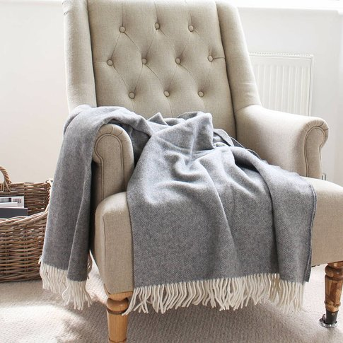 Dark Grey Herringbone Wool And Cotton Mix Throw