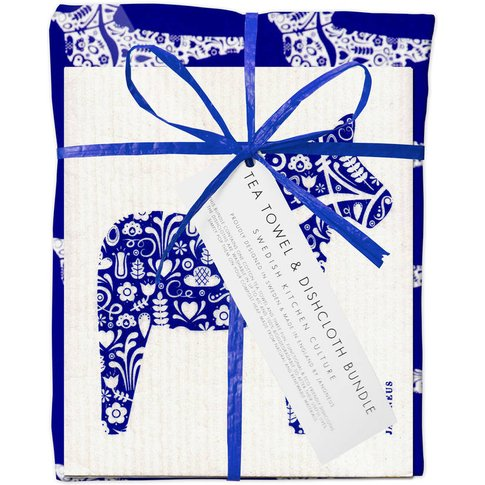 Blue Dala Horse Dishcloth And Tea Towel Bundle, Blue