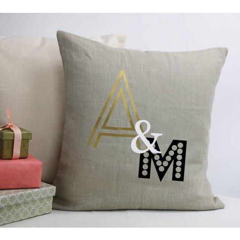 Linen Wedding Initials Cushion, Linen/Grey