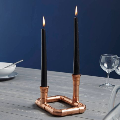 Industrial Rectangular Copper Pipe Candle Holder