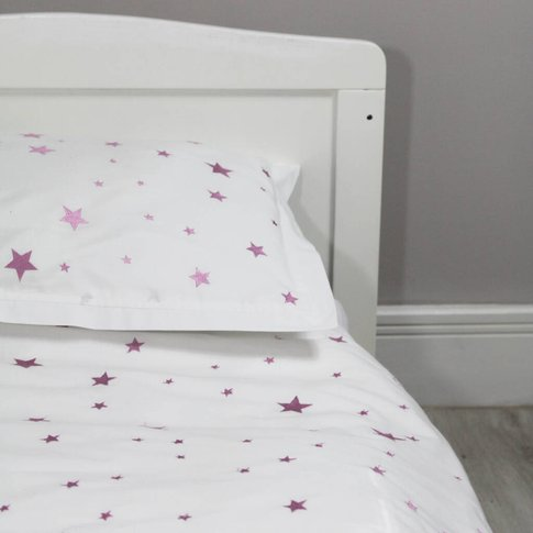 Pink Embroidered Star Single Duvet And Pillowcase Set