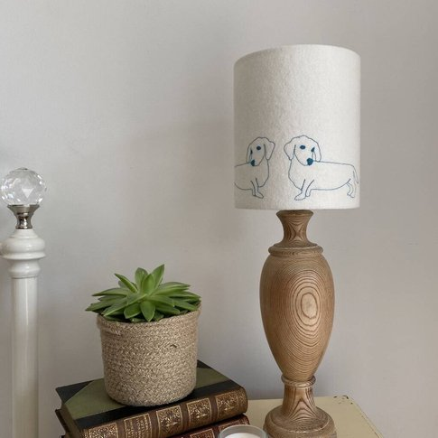 Sausage Dog Embroidered Lampshade