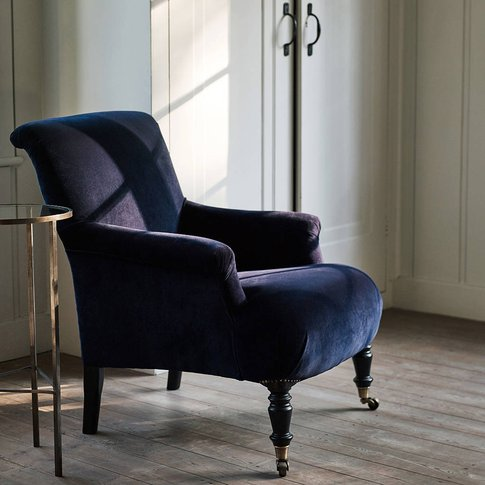 Finley Velvet Armchair, Midnight Blue, Blue
