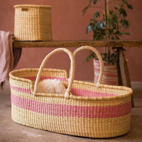 Rosu: Dusky Pink Stripe Woven Moses Basket
