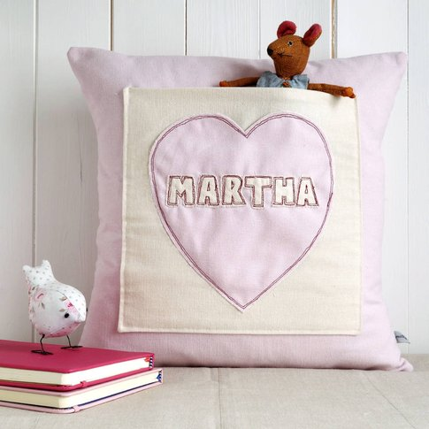 Personalised Pocket Cushion Gift For Girls, Cream/Red