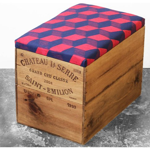 Upcycled Geometric Wine Crate Storage Box, Blue/Red/...