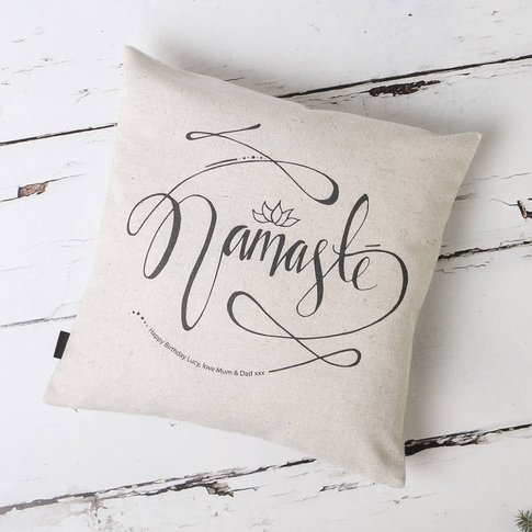 Personalised 'Namaste' Yoga Cushion Cover