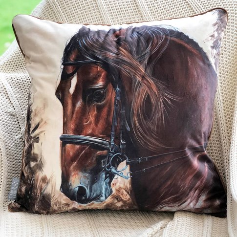 Bay Horse Cushion   Horse Decor   Horse Gifts