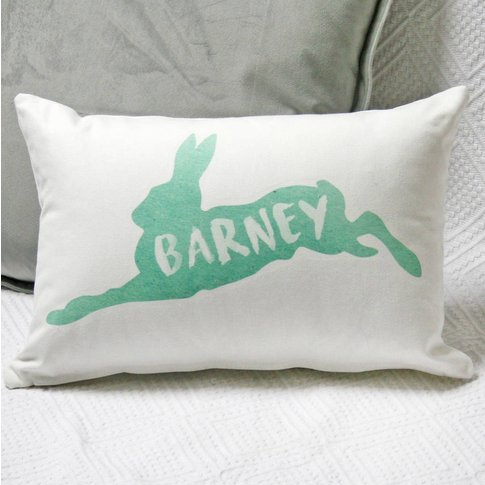 Personalised Watercolour Hare Cushion, Teal/Pink/Blush