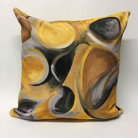 Strata Velvet Cushion Yellow + Ochre + Greys