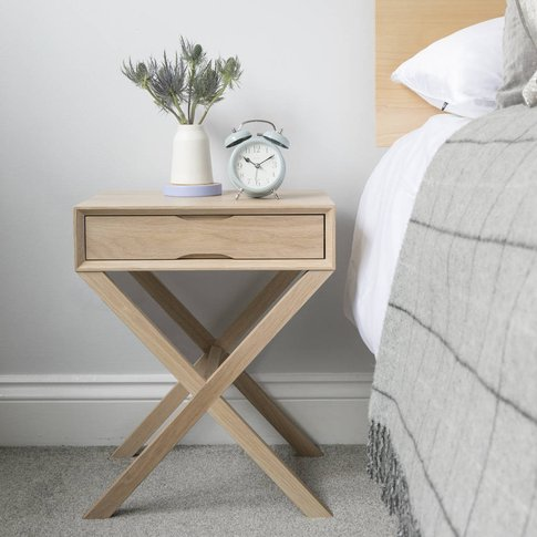 Oak Bedside Table With Crossover Leg