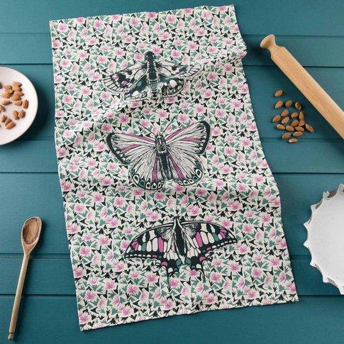 Thistles And Butterflies Tea Towel