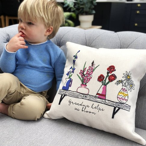 Personalised Family Birth Flowers Cushion
