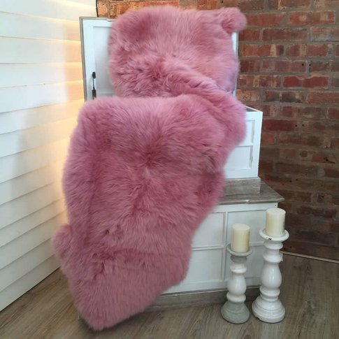 Luxury Candy Floss Pink Sheepskin Double Rug, Pink