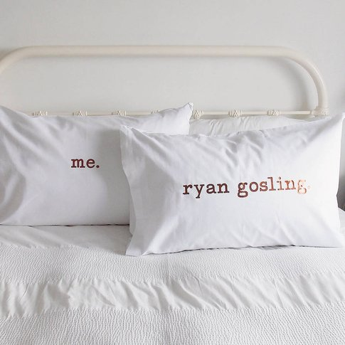 Personalised Pillow Case Set, White/Black/Copper