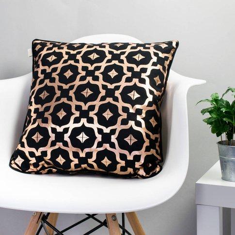 Metallic Cushion In Black And Copper