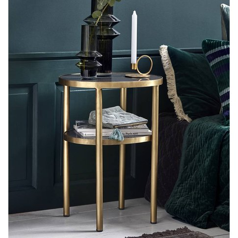 Gold Coloured Oval Side Table
