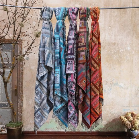 Colorful Merino Wool Throws Marta, Blue/Grey/Red