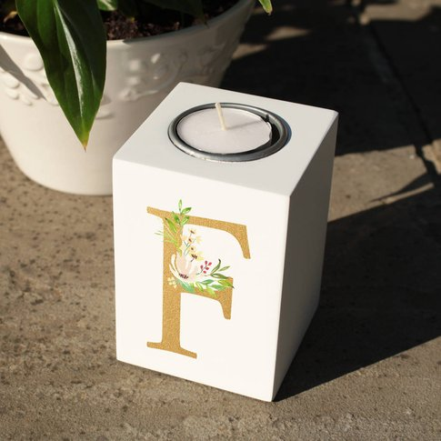 Personalised Initial White Wooden Tealight Holder