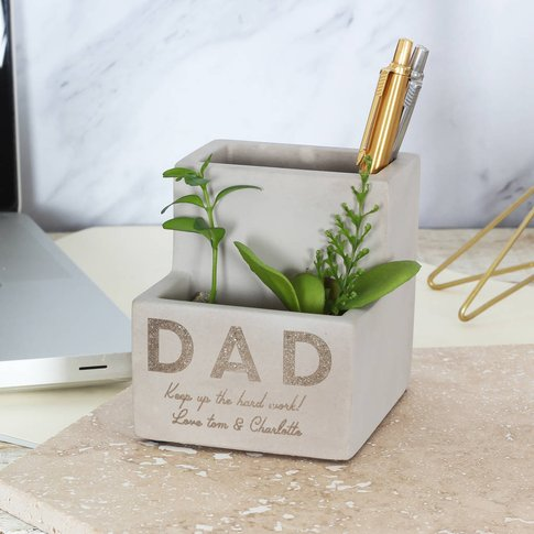 Small Personalised Concrete Pen Pot Planter