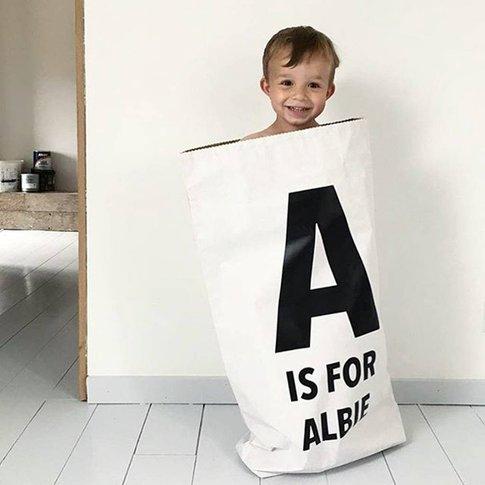 Personalised Initial Children's Storage Sack, White/...