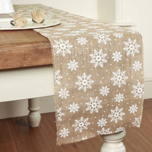 Eco Friendly Jute Snowflake Christmas Table Runner
