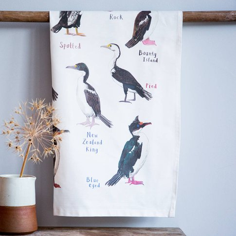'Shags' Illustrated Bird Tea Towel
