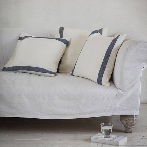 Navy Stripe Arles Linen Cushion