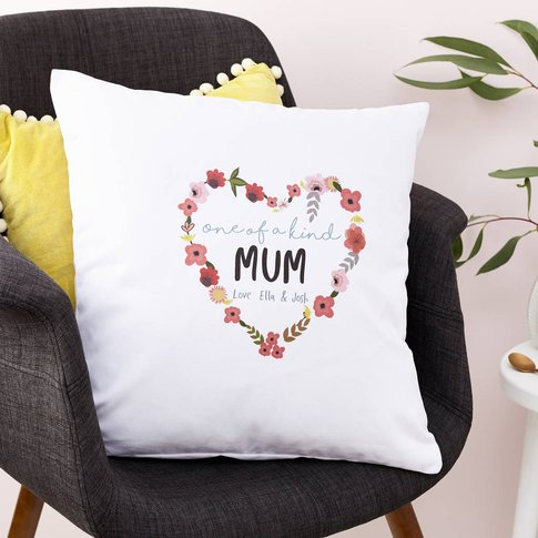 Personalised Floral Heart Cushion, White