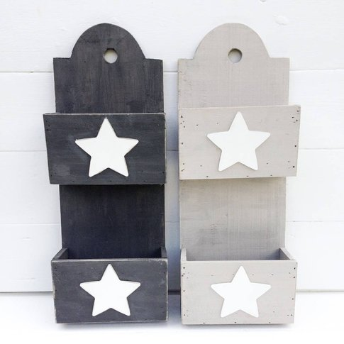 Grey And White Star Storage/Planter