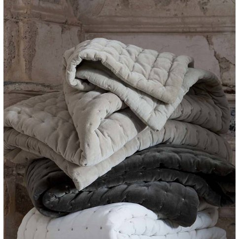 Quilted Velvet Throw, Copper/Beige/Grey