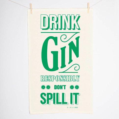 'Drink Gin' Tea Towel