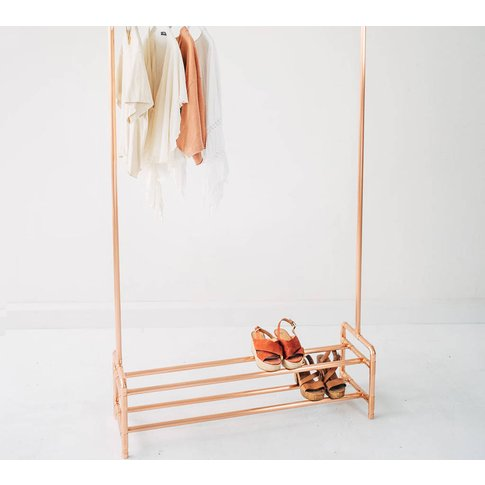Copper Pipe Clothing Rail Storage Two Tier Shoe Rack