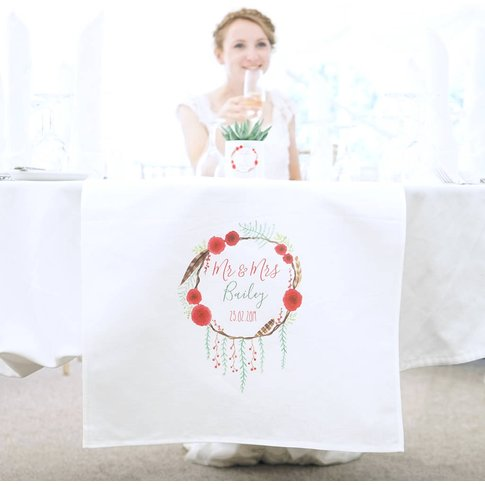 Personalised Winter Wedding Table Runner
