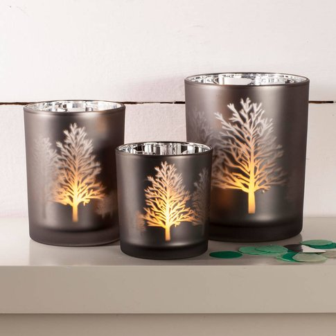 Tree Silhouette Mirror Candle Holder, Silver/Grey