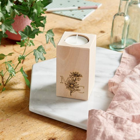 Wooden Birth Flower Candle Holder