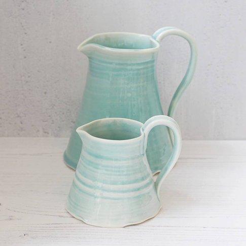 Hand Thrown Milk Jug, Cream/Turquoise