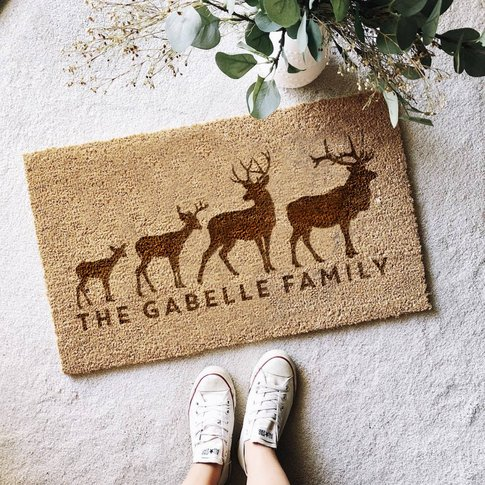 Personalised Stag Family Door Mat