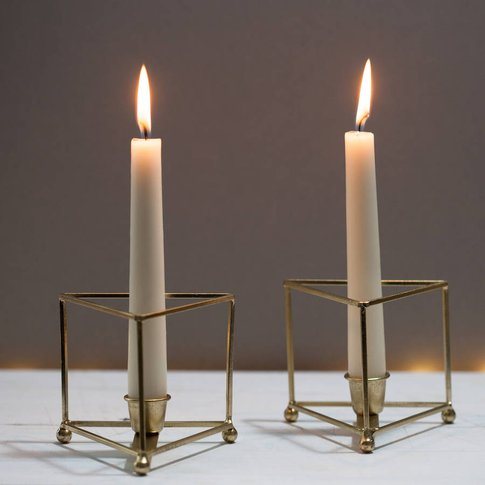 Pair Of Geometric Bronze Or Brass Candle Holders, Bronze/Brass