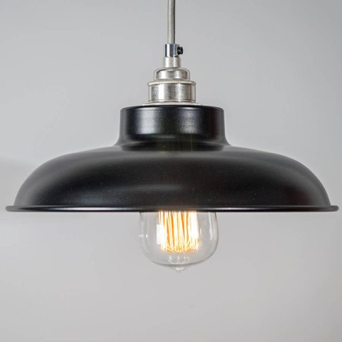 Dome Industrial Pendant Light Shade, White/Midnight/Black