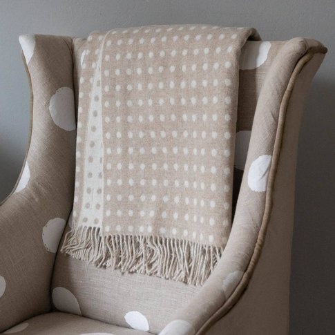 Merino Spot Throws And Cushions Range, Beige/Grey