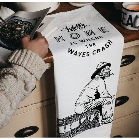 'Home Is Where The Waves Crash' Hand Printed Tea Towel