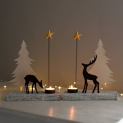 Reindeer Tealight Holder Set Under The Stars