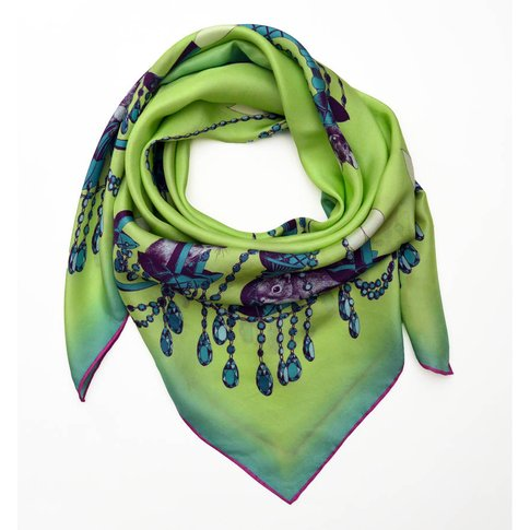 Printed Creature Chandelier Silk Square Ladies Scarf