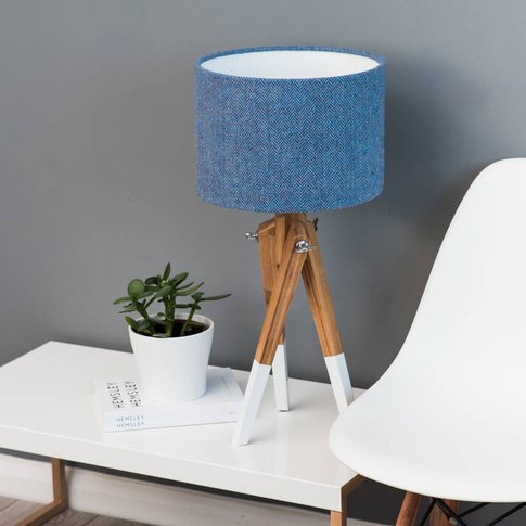 Blue Herringbone Harris Tweed Lampshade, Blue