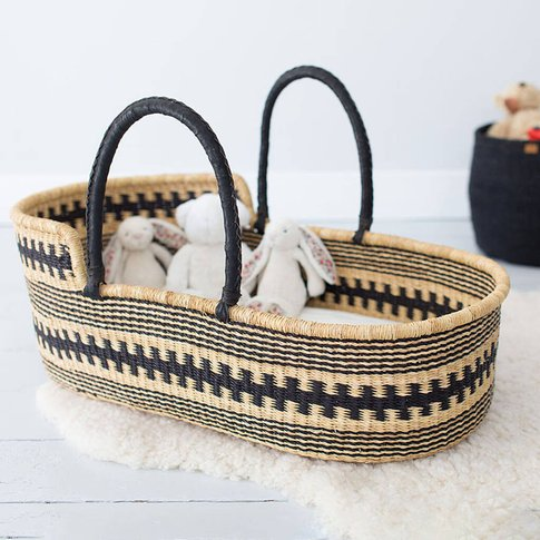 Huntuma: Black Pattern Moses Basket