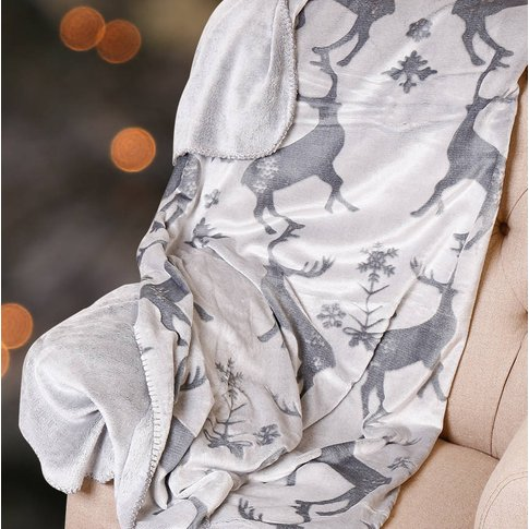 Luxury Winter Grey Stag Throw