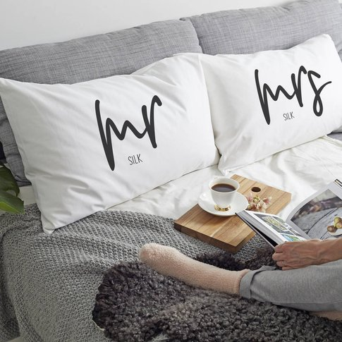 Personalised 'Mrs Or Mr' Pillow Case
