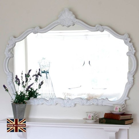 Renaissance White Overmantel Mirror