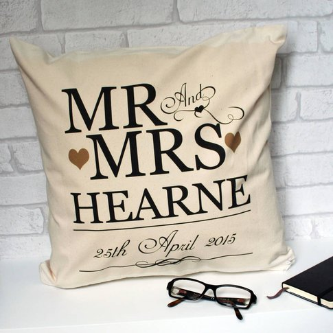 Personalised Wedding Anniversary Scroll Cushion Cover